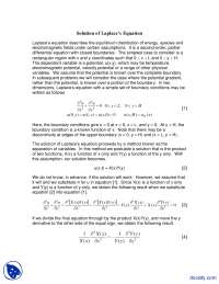 Laplace Equation - Seminar in Engineering Analysis - Lecture Notes