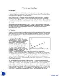 Vectors and Matrices - Seminar in Engineering Analysis - Lecture Notes