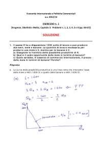Economia internazionale e Politiche commerciali Krugman Obstfeld Capitolo 3 soluzione problemi: 1, 2, 3, 4, 5 e 9