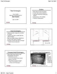 Heat Exchangers - Heat Transfer - Lecture Slides