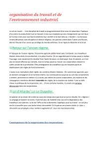 Notes sur l'organisation du travail et de l'environnement industriel