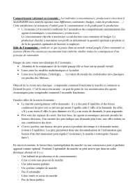 Notes sur le comportement rationnel en économie