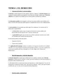 Introducción al derecho. Tema 1