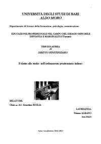 tesi laurea DIRITTO STUDIO CARCERE