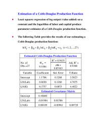 Estimation of a Cobb-Douglas Production Function