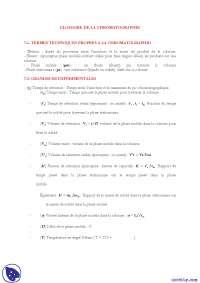 Notes sur le thème de la chromatographie - 1° partie
