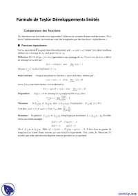 Notes sur la formule de Taylor et développements limités