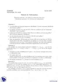 Exercices sur la théorie de l'information 2