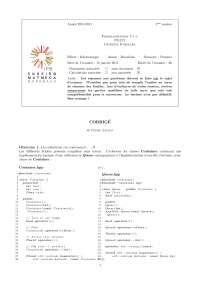 Exercices sur la programmation en C++ - correction.