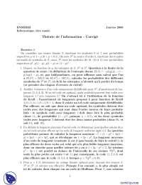 Exercices sur la théorie de l'information  - correction 2, Exercices de Applications des sciences informatiques