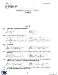 Exercices sur le thème de la programmation impérative - correction