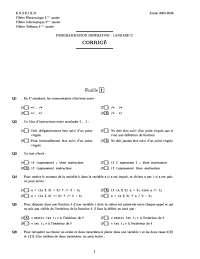 Exercices sur la programmation impérative - langage C - correction