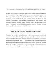 Notes sur l'optimisation fiscale de la politique ethique des entreprises