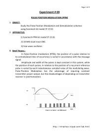 Pulse Position Modulation PPM