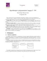 Notes sur l'algorithmique et programmation: langage C