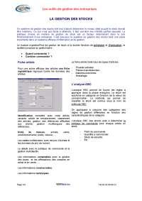 Notes sur les outils de gestion des entreprises
