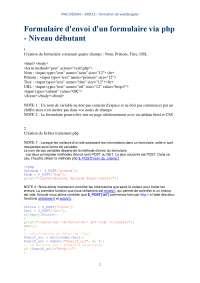 Notes sur le formulaire d'envoi d'un formulaire via php