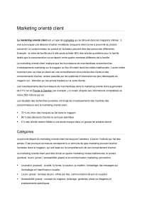 Notes sur le marketing orienté client