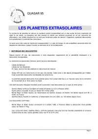Notes sur les planètes extrasolaires