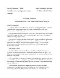 Notes sur la fiscalité de l'entreprise - 1° partie
