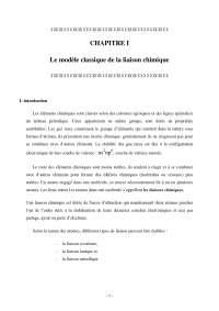 Notes sur le modèle classique de la liaison chimique - 1° partie