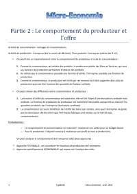 Notes sur le comportement du producteur et l'offre - 1° partie
