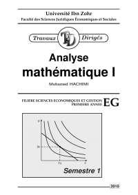 Notes sur l'analyse mathématique