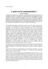"Notes sur la question ""A quoi sert la communication ?"""