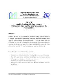 Exercices sur l'audit de sécurité d'un réseau