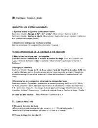 Exerccies sur la cinétique : temps et chimie
