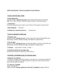 Exercices sur l'oxydoréduction: notion de potentiel d'oxydoréduction