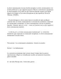 Notes de droit communautaire - 1° partie