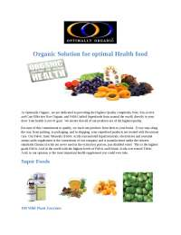 Organic Solution for optimal Health food