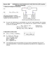 Exercices sur l'électrozingage d'une pièce en acier - correction