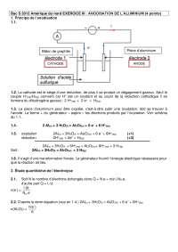 Exercices sur l'anodisation de l'aluminium - correction