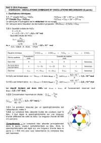 Exercices sur les oscillations chimiques et oscillations mécaniques - correction