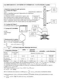 Exercices sur la synthèse d'un fébrifuge : l'acétanilide - corrigé