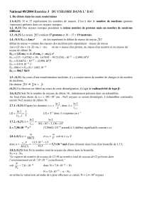 Chimie- exercitation sur la question du chlore dans l'eau - correction, Examens de Chimie