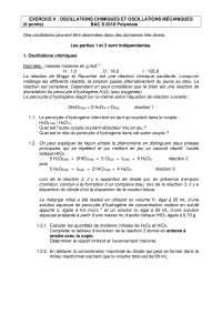 Exercices sur les oscillations chimiques et oscillations mécaniques, Exercices de Chimie Organique