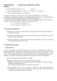 Sciences chimiques - exercitations sur l'étude d'une estérification