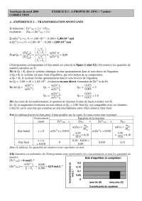Chimie – contrôle sur le zinc - correction