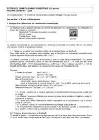 Exercices de chimie sur la chimie à usage domestique