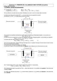Chimie – exercices sur le principe de l'allumage d'une voiture - correction