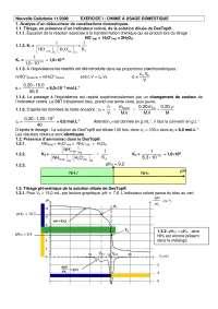 Chimie - exercices sur la chimie à usage domestique - correction