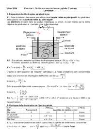 Exercitations de chimie à propos de l'importance de l'eau oxygénée - correction