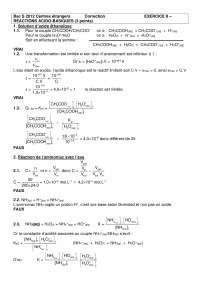 Chimie - exercitation sur les réactions acido-basiques - correction