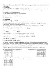 Exercitations - sciences physisques - Émission et réception radio - correction