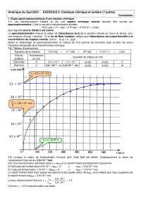 Science physisques - exercitation sur la cinétique chimique et la lumière - correction