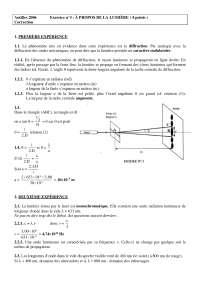 Science physisques - exercitation sur la lumière - correction