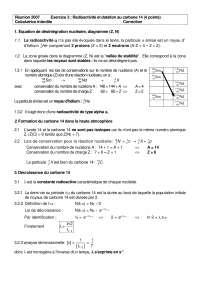 Exercices de physique des particules sur la radioactivité - correction, Exercices de Physique des particules